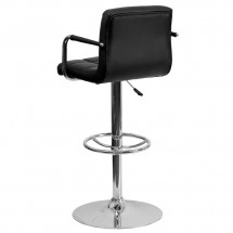 Flash Furniture CH-102029-BK-GG Contemporary Black Quilted Vinyl Adjustable Height Bar Stool with Arms addl-1