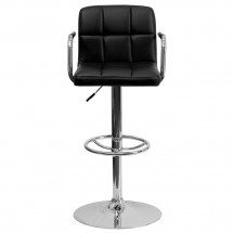 Flash Furniture CH-102029-BK-GG Contemporary Black Quilted Vinyl Adjustable Height Bar Stool with Arms addl-2