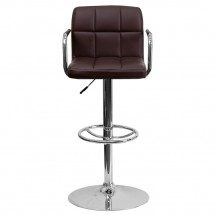 Flash Furniture CH-102029-BRN-GG Contemporary Brown Quilted Vinyl Adjustable Height Bar Stool with Arms addl-2