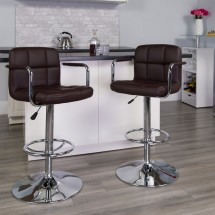 Flash Furniture CH-102029-BRN-GG Contemporary Brown Quilted Vinyl Adjustable Height Bar Stool with Arms addl-3