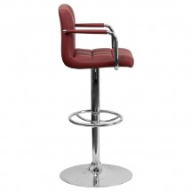 Flash Furniture CH-102029-BURG-GG Contemporary Burgundy Quilted Vinyl Adjustable Height Bar Stool with Arms addl-4