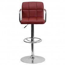 Flash Furniture CH-102029-BURG-GG Contemporary Burgundy Quilted Vinyl Adjustable Height Bar Stool with Arms addl-2