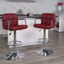 Flash Furniture CH-102029-BURG-GG Contemporary Burgundy Quilted Vinyl Adjustable Height Bar Stool with Arms addl-3