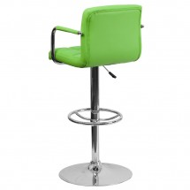 Flash Furniture CH-102029-GRN-GG Contemporary Green Quilted Vinyl Adjustable Height Bar Stool with Arms addl-1