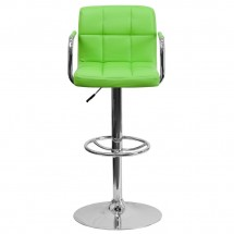 Flash Furniture CH-102029-GRN-GG Contemporary Green Quilted Vinyl Adjustable Height Bar Stool with Arms addl-2