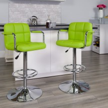 Flash Furniture CH-102029-GRN-GG Contemporary Green Quilted Vinyl Adjustable Height Bar Stool with Arms addl-3