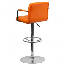 Flash Furniture CH-102029-ORG-GG Contemporary Orange Quilted Vinyl Adjustable Height Bar Stool with Arms addl-1