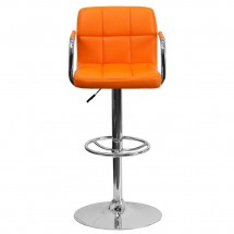 Flash Furniture CH-102029-ORG-GG Contemporary Orange Quilted Vinyl Adjustable Height Bar Stool with Arms addl-2