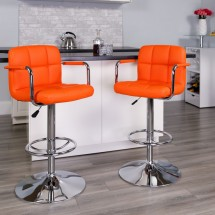 Flash Furniture CH-102029-ORG-GG Contemporary Orange Quilted Vinyl Adjustable Height Bar Stool with Arms addl-3