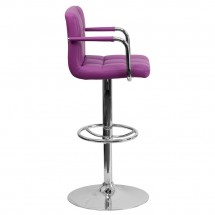 Flash Furniture CH-102029-PUR-GG Contemporary Purple Quilted Vinyl Adjustable Height Bar Stool with Arms addl-4