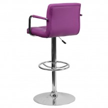 Flash Furniture CH-102029-PUR-GG Contemporary Purple Quilted Vinyl Adjustable Height Bar Stool with Arms addl-1