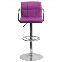 Flash Furniture CH-102029-PUR-GG Contemporary Purple Quilted Vinyl Adjustable Height Bar Stool with Arms addl-2