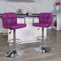 Flash Furniture CH-102029-PUR-GG Contemporary Purple Quilted Vinyl Adjustable Height Bar Stool with Arms addl-3