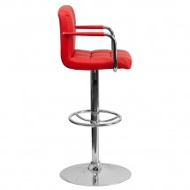 Flash Furniture CH-102029-RED-GG Contemporary Red Quilted Vinyl Adjustable Height Bar Stool with Arms addl-4
