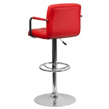 Flash Furniture CH-102029-RED-GG Contemporary Red Quilted Vinyl Adjustable Height Bar Stool with Arms addl-1