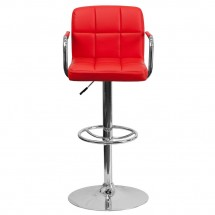 Flash Furniture CH-102029-RED-GG Contemporary Red Quilted Vinyl Adjustable Height Bar Stool with Arms addl-2
