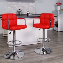 Flash Furniture CH-102029-RED-GG Contemporary Red Quilted Vinyl Adjustable Height Bar Stool with Arms addl-3