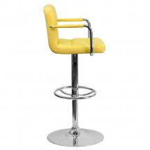 Flash Furniture CH-102029-YEL-GG Contemporary Yellow Quilted Vinyl Adjustable Height Bar Stool with Arms addl-4
