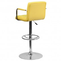 Flash Furniture CH-102029-YEL-GG Contemporary Yellow Quilted Vinyl Adjustable Height Bar Stool with Arms addl-1
