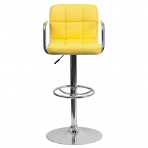 Flash Furniture CH-102029-YEL-GG Contemporary Yellow Quilted Vinyl Adjustable Height Bar Stool with Arms addl-2