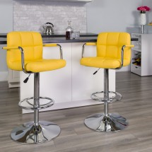 Flash Furniture CH-102029-YEL-GG Contemporary Yellow Quilted Vinyl Adjustable Height Bar Stool with Arms addl-3