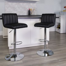 Flash Furniture CH-112010-BK-GG Contemporary Black Vinyl Adjustable Height Bar Stool addl-3