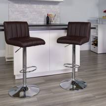 Flash Furniture CH-112010-BRN-GG Contemporary Brown Vinyl Adjustable Height Bar Stool addl-3