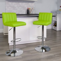 Flash Furniture CH-112010-GRN-GG Contemporary Green Vinyl Adjustable Height Bar Stool addl-3