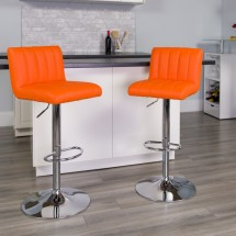 Flash Furniture CH-112010-ORG-GG Contemporary Orange Vinyl Adjustable Height Bar Stool addl-3