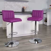 Flash Furniture CH-112010-PUR-GG Contemporary Purple Vinyl Adjustable Height Bar Stool addl-3