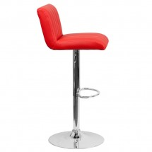 Flash Furniture CH-112010-RED-GG Contemporary Red Vinyl Adjustable Height Bar Stool addl-4
