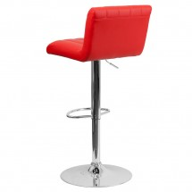 Flash Furniture CH-112010-RED-GG Contemporary Red Vinyl Adjustable Height Bar Stool addl-1