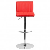 Flash Furniture CH-112010-RED-GG Contemporary Red Vinyl Adjustable Height Bar Stool addl-2