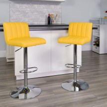 Flash Furniture CH-112010-YEL-GG Contemporary Yellow Vinyl Adjustable Height Bar Stool addl-3