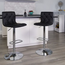 Flash Furniture CH-112080-BK-GG Contemporary Tufted Black Vinyl Adjustable Height Bar Stool addl-3