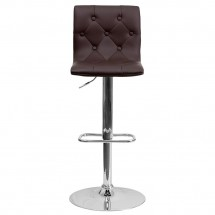 Flash Furniture CH-112080-BRN-GG Contemporary Tufted Brown Vinyl Adjustable Height Bar Stool addl-2