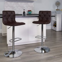 Flash Furniture CH-112080-BRN-GG Contemporary Tufted Brown Vinyl Adjustable Height Bar Stool addl-3