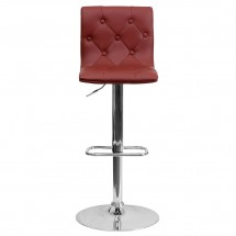 Flash Furniture CH-112080-BURG-GG Contemporary Tufted Burgundy Vinyl Adjustable Height Bar Stool addl-2
