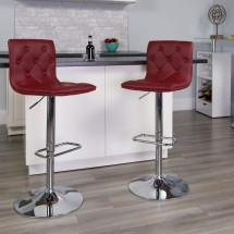 Flash Furniture CH-112080-BURG-GG Contemporary Tufted Burgundy Vinyl Adjustable Height Bar Stool addl-3
