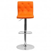 Flash Furniture CH-112080-ORG-GG Contemporary Tufted Orange Vinyl Adjustable Height Bar Stool addl-2