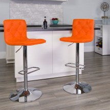 Flash Furniture CH-112080-ORG-GG Contemporary Tufted Orange Vinyl Adjustable Height Bar Stool addl-3