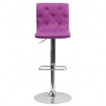 Flash Furniture CH-112080-PUR-GG Contemporary Tufted Purple Vinyl Adjustable Height Bar Stool addl-2