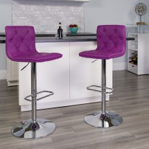 Flash Furniture CH-112080-PUR-GG Contemporary Tufted Purple Vinyl Adjustable Height Bar Stool addl-3