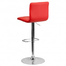 Flash Furniture CH-112080-RED-GG Contemporary Tufted Red Vinyl Adjustable Height Bar Stool addl-1
