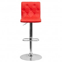 Flash Furniture CH-112080-RED-GG Contemporary Tufted Red Vinyl Adjustable Height Bar Stool addl-2