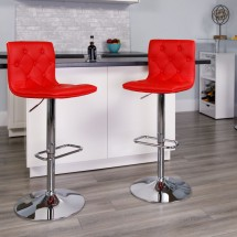 Flash Furniture CH-112080-RED-GG Contemporary Tufted Red Vinyl Adjustable Height Bar Stool addl-3