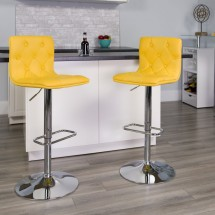 Flash Furniture CH-112080-YEL-GG Contemporary Tufted Yellow Vinyl Adjustable Height Bar Stool addl-3
