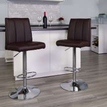 Flash Furniture CH-122090-BRN-GG Contemporary Brown Vinyl Adjustable Height Bar Stool addl-3