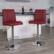 Flash Furniture CH-122090-BURG-GG Contemporary Burgundy Vinyl Adjustable Height Bar Stool addl-3