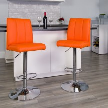 Flash Furniture CH-122090-ORG-GG Contemporary Orange Vinyl Adjustable Height Bar Stool addl-3